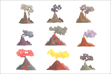 Volcano eruption set, volcanic magma blowing up, lava flowing down cartoon vector Illustrations on a white background