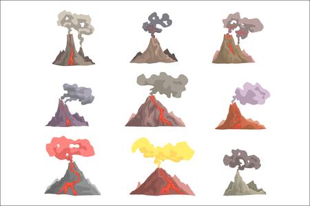 Vulkanausbruch eingestellt, vulkanisches Magma, das aufbläst, Lava, die Karikaturvektorillustrationen auf einem weißen Hintergrund hinunterfließt