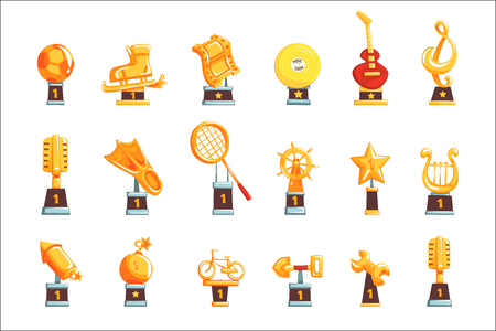 Cartoon golden trophy cups, awards and achievements set of vector Illustrations isolated on white background