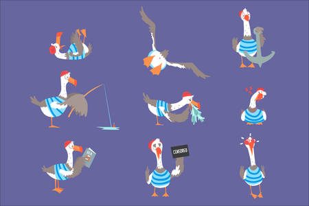 Cartoon seagulls with different poses and emotions set, cute comic bird characters vector Illustrations