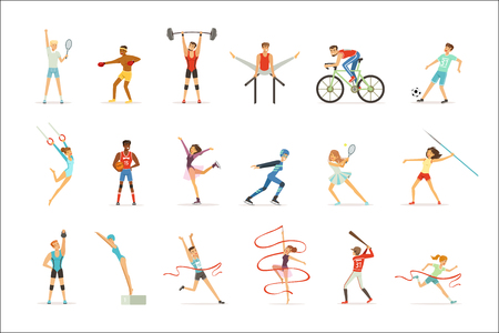 Athletic people doing various kinds of sports, people in gym, sports equipment colorful vector Illustrations on a white background