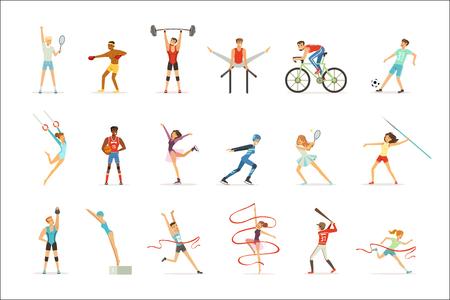 Gens athlétiques faisant divers types de sports, personnes en salle de gym, vecteur coloré de matériel de sport Illustrations sur fond blanc