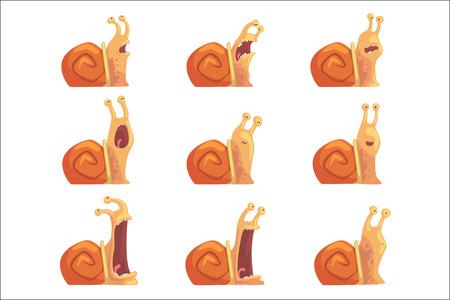 Ślimaki kreskówka pokazano różne emocje zestaw, śmieszne postacie ślimaka ilustracje wektorowe
