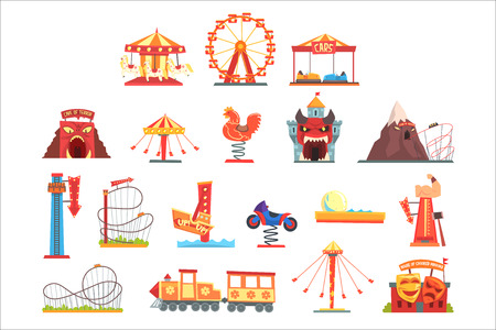 Amusement park elements set, funfair attraction colorful cartoon vector Illustrations