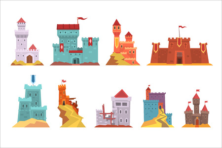Ancient castles and fortresses set, various buildings of medieval architecture vector Illustrations