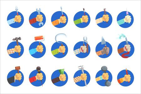 Manos sosteniendo el conjunto de herramientas, la mano del hombre con el símbolo de la profesión, trabajos avatar vector ilustraciones sobre un fondo blanco Ilustración de vector