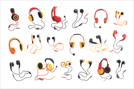 Headphones and earphones set, music technology accessory vector Illustrations on a white background