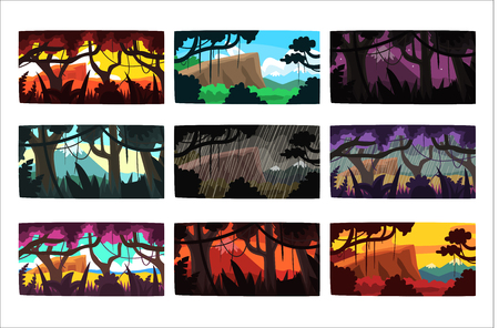 Tropical jungle landscapes set in different times of day colorful horizontal vector Illustrations Ilustração Vetorial