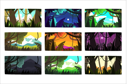 Tropical jungle landscapes set in different different colors and times of day colorful horizontal vector Illustrations
