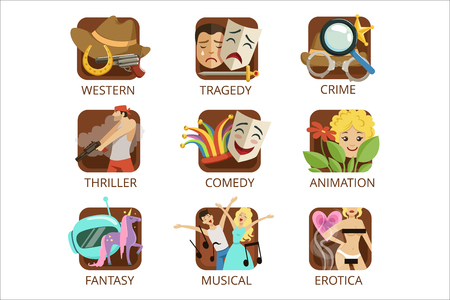 Movie genres set, crime, comedy, animation, western, tragedy, thriller, fantasy, musical erotica colorful vector Illustrations on a white background Illustration