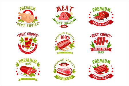 Premium quality fresh meat  templates set, best choice since 1969 badge vector Illustrations Çizim
