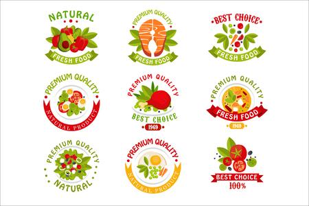Premium quality food  templates set, natural products vector Illustrations Foto de archivo - 107592591