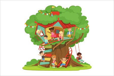 Children playing and having fun in the treehouse, kids playground with swing and ladder colorful detailed vector Illustration on a white background Banque d'images - 110354249