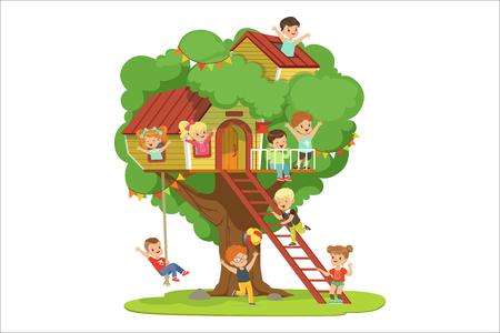 Bambini che si divertono nella casa sull'albero, parco giochi per bambini con altalena e scala colorata dettagliata illustrazione vettoriale su sfondo bianco Vettoriali