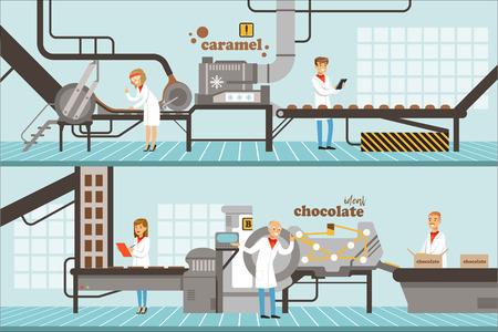 Proces produkcji karmelu i czekolady zestaw poziomych kolorowych banerów