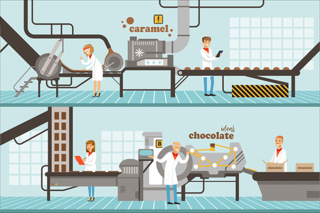 Process of caramel and chocolate production set of horizontal colorful banners