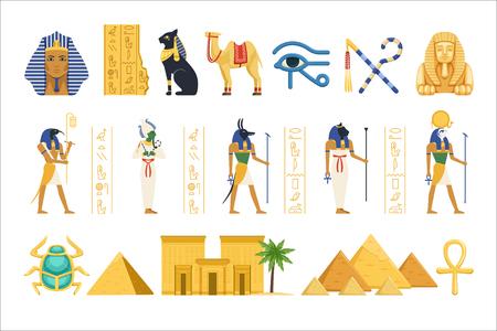 Zestaw Egipt, egipskie starożytne symbole władzy faraonów i bogów kolorowe ilustracje wektorowe na białym tle