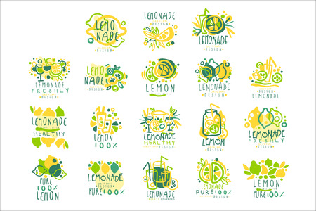 Lemonade, 100 percent pure lemon set for label design, hand drawn colorful vector Illustrations Ilustracja
