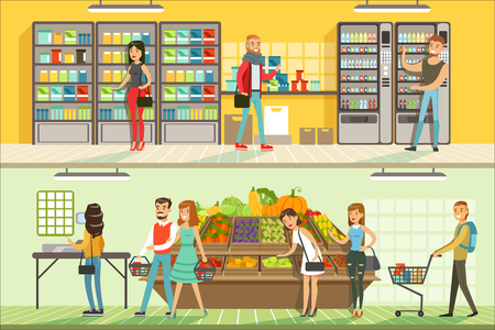 People in supermarket horizontal colorful banners set, customers shopping and buying products detailed vector Illustrations Ilustração