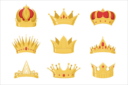 Royal golden crowns set, symbols of power of the king and queen vector Illustrations on a white background