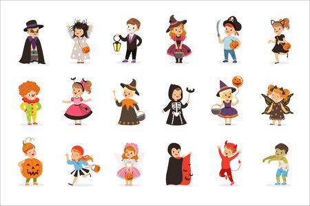 Ute niños pequeños en coloridos disfraces de halloween, niños de Halloween truco o trato ilustraciones vectoriales sobre un fondo blanco.