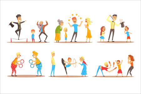 Junger Mann, der mit orangefarbenen Bällen vor glücklichen Menschen jongliert. Zirkus oder Straßenschauspieler bunte Cartoon detaillierte Vektor-Illustration auf weißem Hintergrund Vektorgrafik