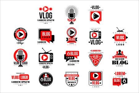 Vlog and blog original  design set, video blogging or video channel badges vector Illustrations