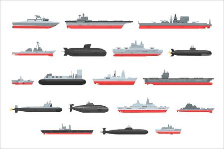 Différents types de navires de combat naval, bateaux militaires, navires, frégates, vecteur sous-marin Illustrations sur fond blanc