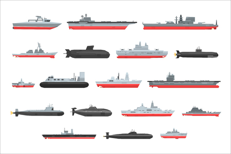 Different types of naval combat ships set, military boats, ships, frigates, submarine vector Illustrations on a white background