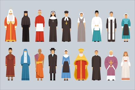 Conjunto de personas de religión, hombres y mujeres de diferentes confesiones religiosas con ropas tradicionales