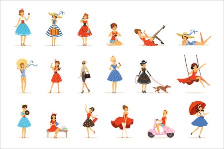 Beautiful retro girls characters set, young women wearing dresses in retro style colorful vector Illustrations on a white background Stock Illustratie
