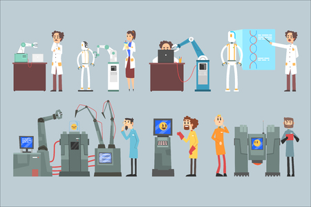 Scientists invention in robotic cybernetic engineering industry set, artificial intelligence elements vector Illustrations