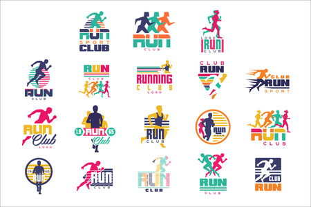 Run sport club  templates set, emblems for sport organizations, tournaments and marathons colorful vector Illustrations