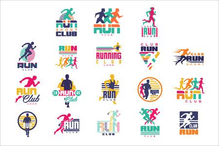 Uruchom zestaw szablonów klubu sportowego, emblematy dla organizacji sportowych, turniejów i maratonów kolorowe ilustracje wektorowe Ilustracje wektorowe