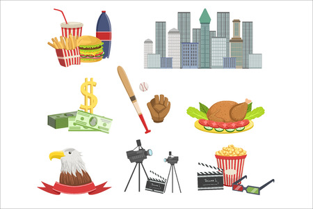 USA national symbols set, american attractions vector Illustrations on a white background