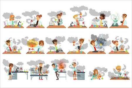 Kinderchemiker, die in verschiedenen Situationen posieren, die nach fehlgeschlagenen chemischen Experimenten schmutzig aussehen, setzen Vektorillustrationen auf weißem Hintergrund