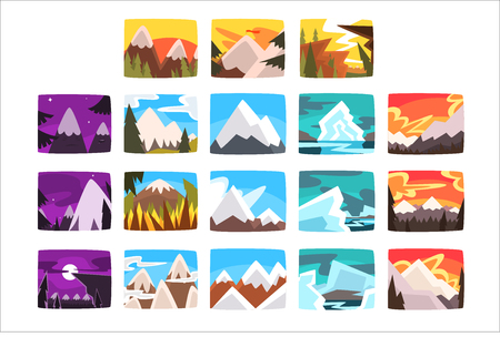 Beautiful mountain landscapes set in different times of day Ilustrace