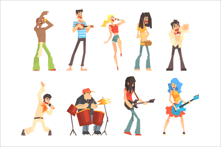 Musicians And Singers Of Different Music Styles Performing On Stage In Concert Series Of Cartoon Characters. People And Musical Performance Vector Illustrations With Musical Instruments Or Microphone.