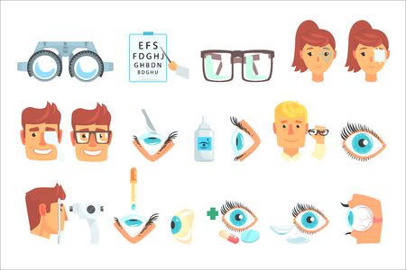 Insieme diagnostico dell'oftalmologo, trattamento e correzione delle illustrazioni di vettore del fumetto di visione su un fondo bianco