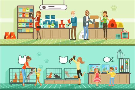 Jeu de bannières horizontales pour animalerie, personnes achetant des animaux de compagnie, poissons d'aquarium, nourriture pour animaux, cage, accessoires pour soins colorés détaillés Illustrations vectorielles Vecteurs