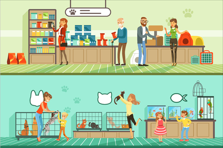 Pet shop horizontal banners set, people buying pets, aquarium fish, food for animals, cage, accessories for care colorful detailed vector Illustrations Archivio Fotografico - 110354265