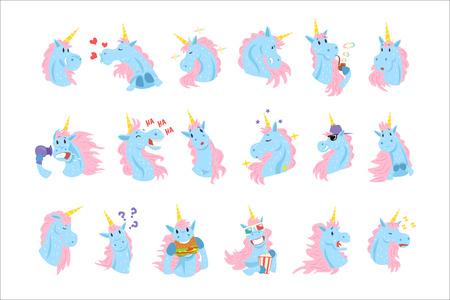 Divertidos personajes de unicornio con diferentes emociones establecen coloridas ilustraciones vectoriales sobre un fondo blanco.