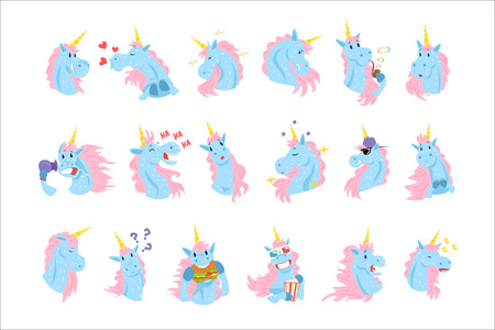 Funny unicorn characters with different emotions set colorful vector Illustrations on a white background