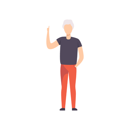 Young man pointing with his forefinger up, faceless guy character gesturing vector Illustration isolated on a white background.