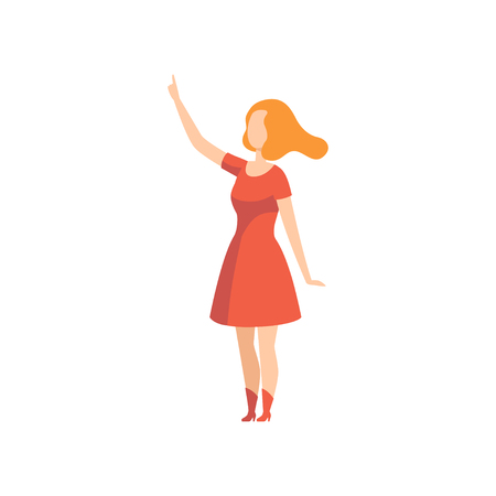 Young woman pointing with her finger up, faceless girl character gesturing vector Illustration isolated on a white background. Illustration