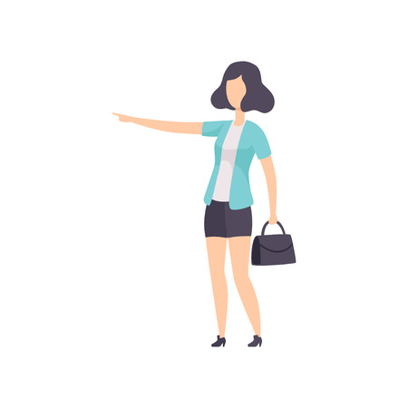 Young woman pointing forefinger at the side, faceless girl character gesturing vector Illustration isolated on a white background.
