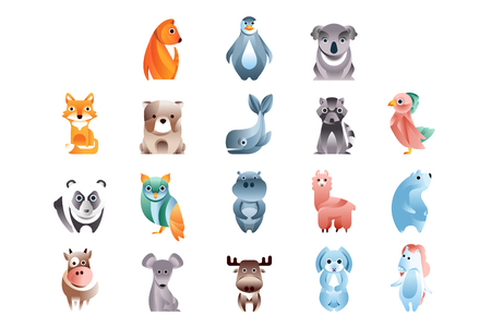 Animals in a geometric flat style with the use of gradients and smooth shapes set of colorful vector Illustrations Ilustração