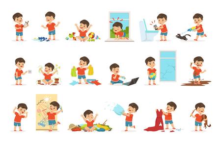 Lustiger kleiner Junge, der Spiele spielt und Unordnung macht Vektorgrafik