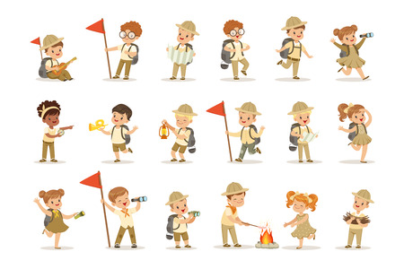 Set of girls and boys in scout khaki costumes. Scouts in action. Cheerful kids exploring map, getting wood for the fire and cooking sausages. Summer children s camp. Vector illustration isolated Ilustração