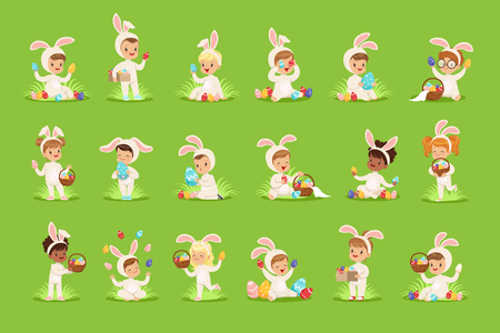 Happy Easter set with cute children in bunny costumes with colored eggs in basket. Baby cartoon flat character. Design elements for greeting cards, posters, invitations, kid projects, t-shirts. Vector
